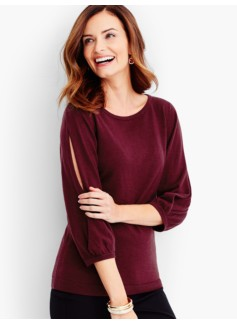 Merino Juliette Sleeve Sweater-Solid
