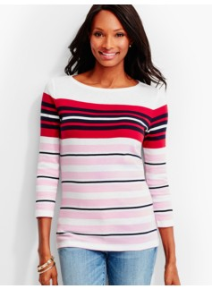 Three-Quarter-Sleeve Bateau Neck Tee-Barrel Stripes