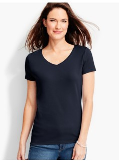 Short-Sleeve V-Neck Pima Cotton Tee-The Talbots Tee