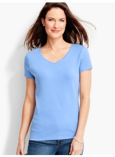 Short-Sleeve V-Neck Pima Cotton -The Talbots Tee