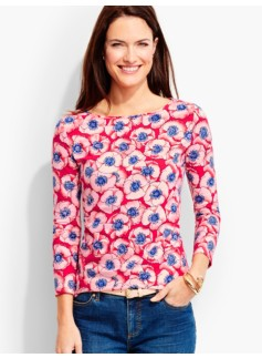 Three-Quarter-Sleeve Bateau Neck -Rose-of-Sharon Print-The Talbots Tee