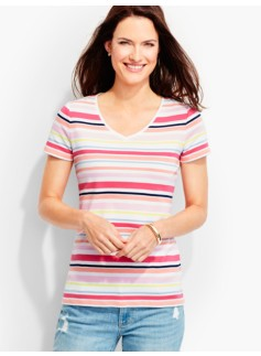 Short-Sleeve V-Neck Tee-Stripes-The Talbots Tee