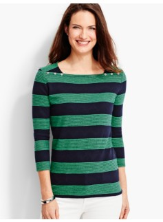 Button Envelope-Shoulder Stripe Tee