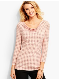 Platinum Jersey Drapeneck Top-Dots-And-O's