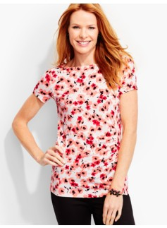 Ruched Bateau Tee-Floating Flowers