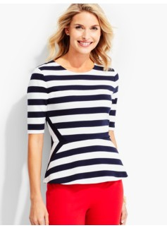 Morris-Stripes Peplum Top