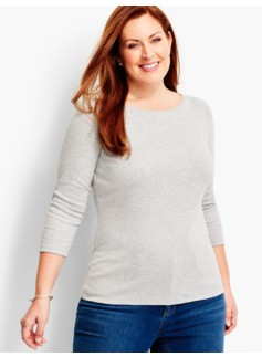 Three-Quarter-Sleeve Bateau Neck -Ash Heather-The Talbots Tee