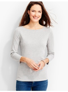 Three-Quarter-Sleeve Bateau Neck Tee-Ash Heather
