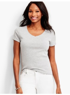 Short-Sleeve V-Neck Tee-Ash Heather-The Talbots Tee
