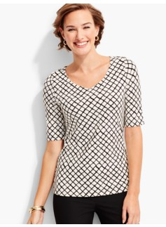Refined V-Neck Top-Lattice Checks