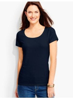 Pima Cotton Short-Sleeve Scoopneck -The Talbots Tee