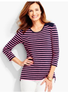 Lace-Yoke Tee - Island Stripes