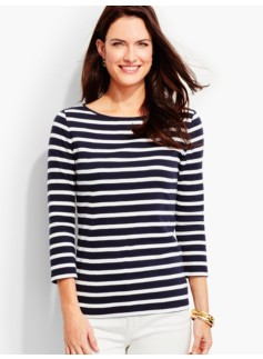 Three-Quarter-Sleeve Bateau Neck Tee-Wellesley Stripes-The Talbots Tee
