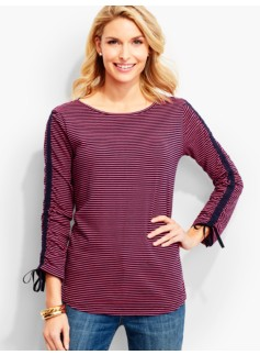 Tie Ruched-Sleeve Tee-Stripes