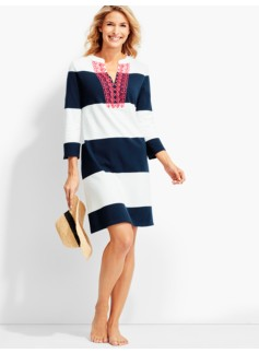 Embroidered Rugby-Stripe Cover-Up