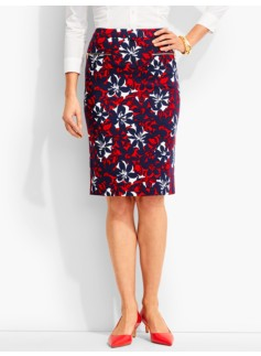 Ponte Pencil Skirt-Floral Art Deco Print