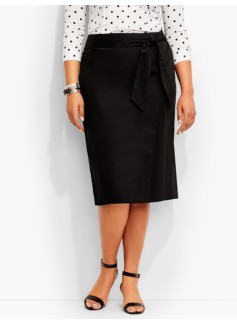 Refined Sateen Faux-Wrap Skirt