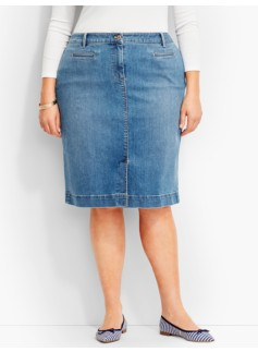 The Denim Pencil Skirt - Clear Sailing Wash