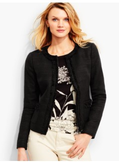 Fringed-Edge Tweed Jacket