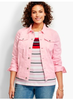 The Classic Denim Jacket-Compact Pink & White