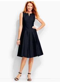 Doupioni Pleated Fit-And-Flare Dress