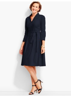 Ruffled V-Neck Shirtdress