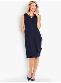 Refined Crepe Side-Drape Sheath Dress
