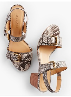 Mimi Buckle-Strap Sandals - Exotic Leather