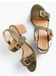 Mimi Buckle-Strap Sandals - Pebbled Leather