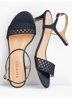 Pila Perfortated Kitten-Heel Sandals - Vachetta Leather