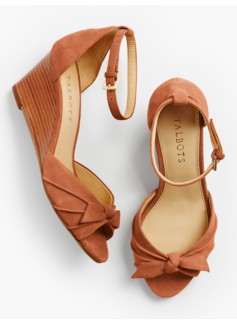 Vivian Bow Ankle-Strap Wedges