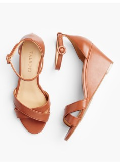 Vivian Ankle-Strap Wedges-Vachetta Leather