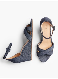 Vivian Ankle-Strap Wedges-Sueded Denim