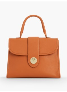 Top-Handle Pebbled Leather Satchel