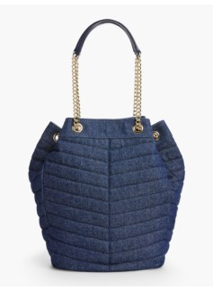 Quilted Denim Bucket Bag