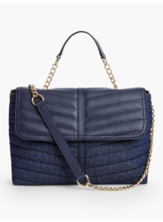 Quilted Denim Satchel