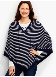 Lace-Up Poncho-Stripes