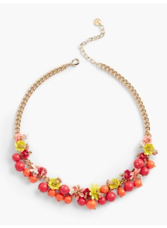 Flower & Bead Cluster Necklace