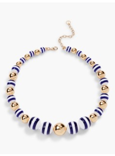 Stripe & Gold Bead Necklace