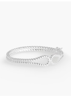 Sterling Silver Sculpted-Loop Hinged Cuff