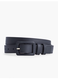 Covered-Buckle Leather Belt