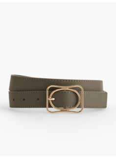 Woman's Double Buckle Belt-Pebbled Leather