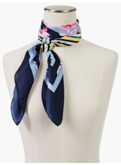 Stripes & Roses Silk Scarf