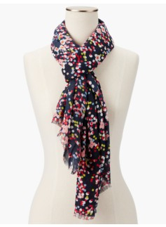Fringed Dotted Flowers Scarf