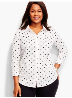 The Perfect Three-Quarter-Sleeve Shirt-Polka Dots