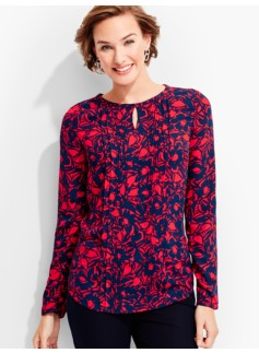 Woodcut-Floral Pintucked Blouse
