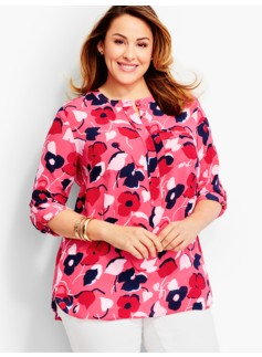 Washable Silk Popover-Abstract Tulips