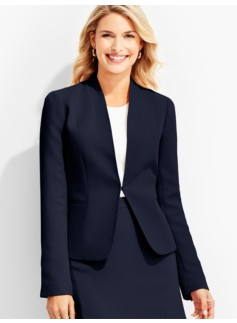 Refined Crepe Stand V-Neck Jacket
