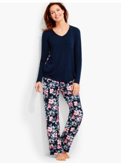 Tossed Primrose Top & Woven Pant Pajama Set