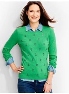 Rhinestone-Anchor Sweater